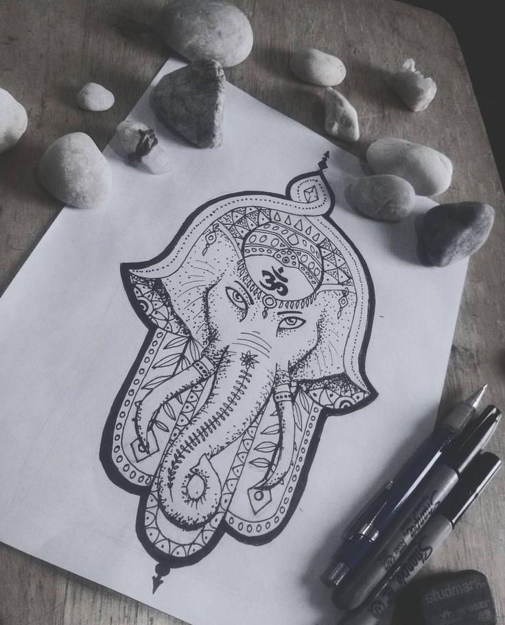 Pedido para un tattoo #vsco #vscocam #om #hamsa #ganesha #draw #illustration #sketch #tattoo #ink #ilustración #tatuaje