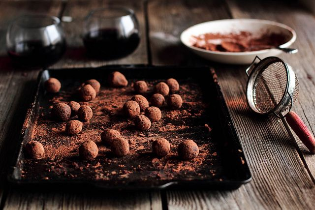 Red Wine Chocolate Truffles from Pastry Affair - too ready for these to be made and ready to eat! Use a St. James Winery Cynthiana in the recipe, pair with a Norton Dessert Wine
