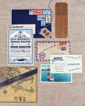 "printed ""memorabilia,"" including nautical-themed invitations, air mail envelopes, and RSVPs scanned from old postcards"