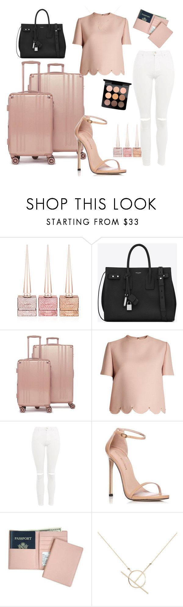 """""""Untitled #626"""" by lostmahomie on Polyvore featuring Christian Louboutin, Yves Saint Laurent, CalPak, Valentino, Topshop, Stuart Weitzman, Royce Leather, A Weathered Penny and MAC Cosmetics"""