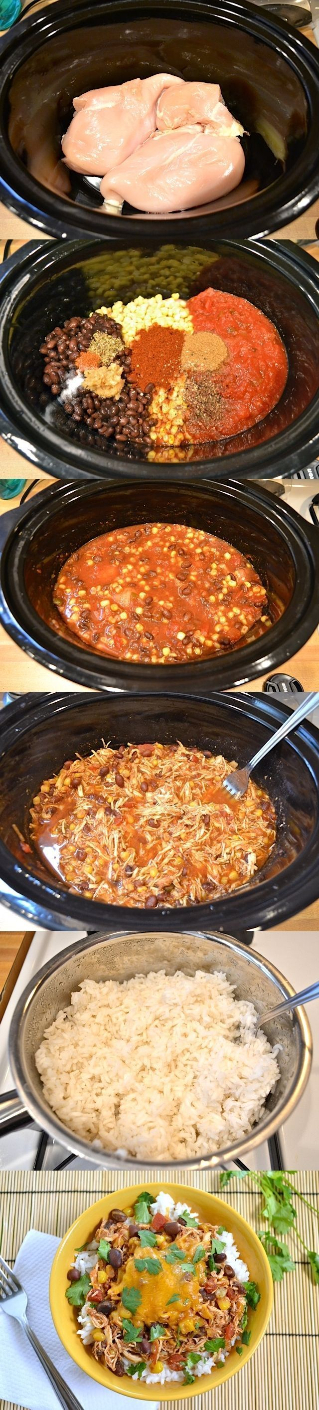 Slow Cooker Taco Chicken Bowls are the ultimate set it and forget it easy weeknight meal that the whole family will love. Step by step photos.