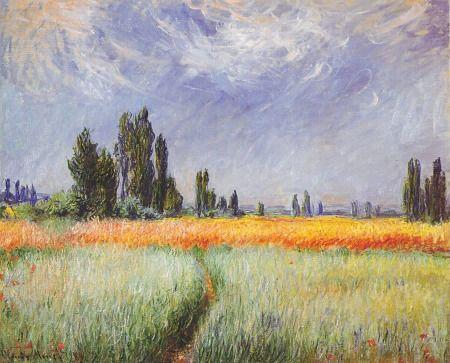"""""""Campo de Trigo"""" de Monet, cuadro del Museo de Cleveland. Los trazos decididos y los colores espesos recuerdan al estilo de Vincent."""