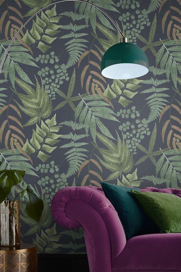 Midsummer Fern By Graham Brown Wallpaper Direct Navy Wallpaper Fern Wallpaper Wallpaper Direct