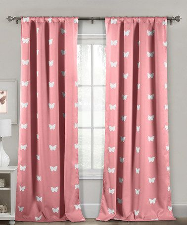 Look at this #zulilyfind! Pink Butterfly Heavy Blackout Curtain Panel - Set of Two #zulilyfinds