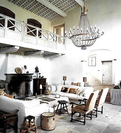 big vaulted ceilings, stone floors #white