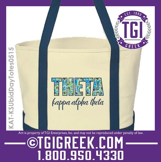 TGI Greek - Kappa Alpha Theta - Bid Day Totes - Bid Day Gifts - Greek Apparel - Sorority Recruitment - Theta