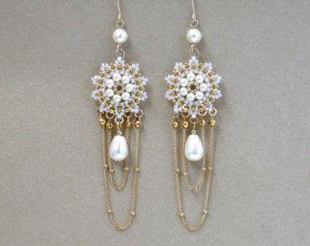Bruids kroonluchter oorbellen, bruids oorbellen goud, ketting dangle oorbellen, gouden bruiloft earring, bruiloft pearl earring, Parel gold Earrings