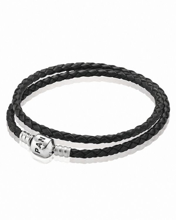 Pandora Bracelet - Black Leather Double Wrap with Sterling Silver Clasp, Moments Collection