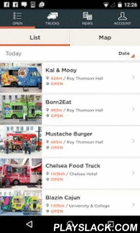 Food Trucks  Android App - playslack.com , Your comprehensive guide to food trucks including location info, photos and the latest news and events.Features:* Find and map the location of food trucks.* See photos of food trucks and menu items.* Make a list of your favourite food trucks.* Upload your own food truck photos.* Get the latest food truck news and event info.* Share content in the app via Twitter, Facebook, email or SMS.* Current support for Canadian cities only (Toronto, Montreal)…