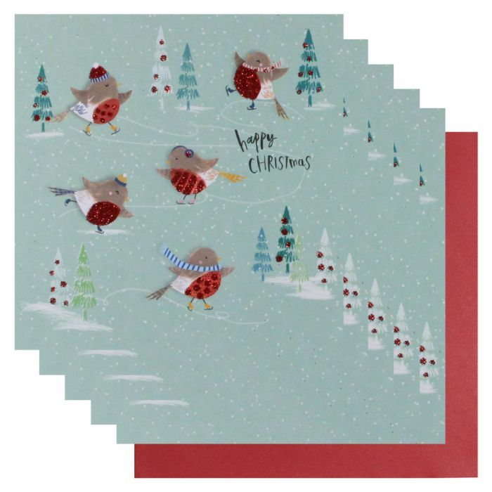Robbins square Christmas cards - pack of 6 - Christmas Card Packs ...