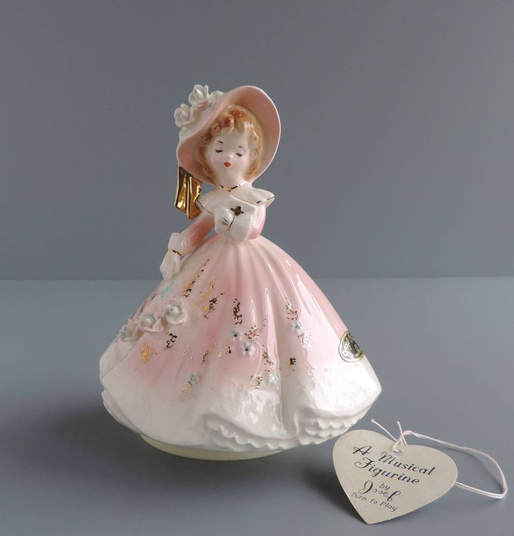 "Vintage Josef Originals ""Amazing Grace"" Musical Figurine, Religious Girl in Pink and White Holding Bible, Music Box Figural, Made in Japan by TheLogChateau on Etsy"