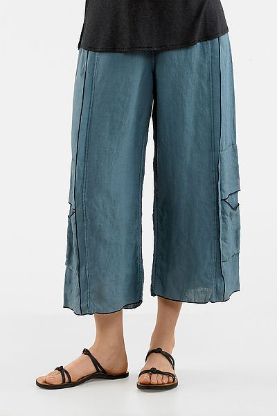 Double Stitched Cropped Linen Pant: Cynthia Ashby: Linen Pant   Artful Home