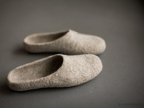 Felted organic wool slippers  Beige slippers Women slippers House shoes Real beige clogs Natural wool clogs Eco friendly gift for her