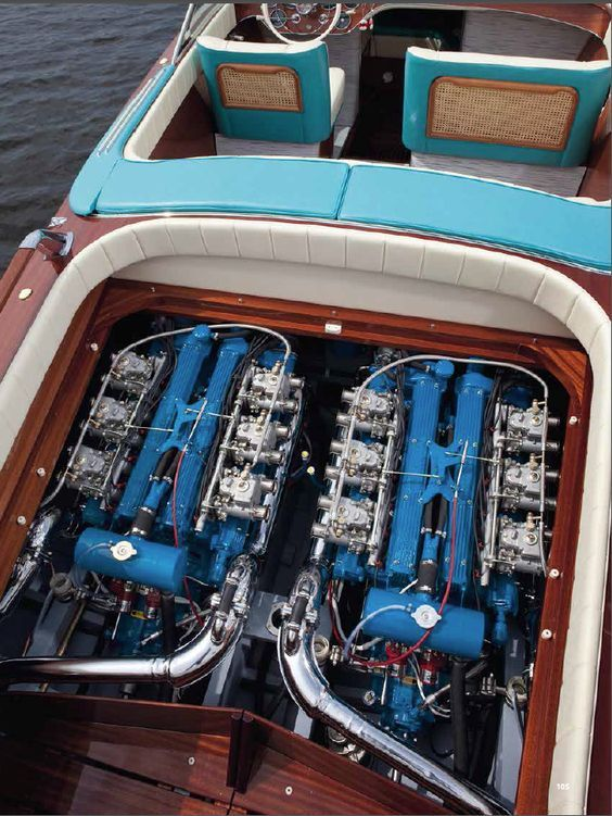 Riva Aquarama watercraft with twin Lamborghini V12 engines modified for marine use