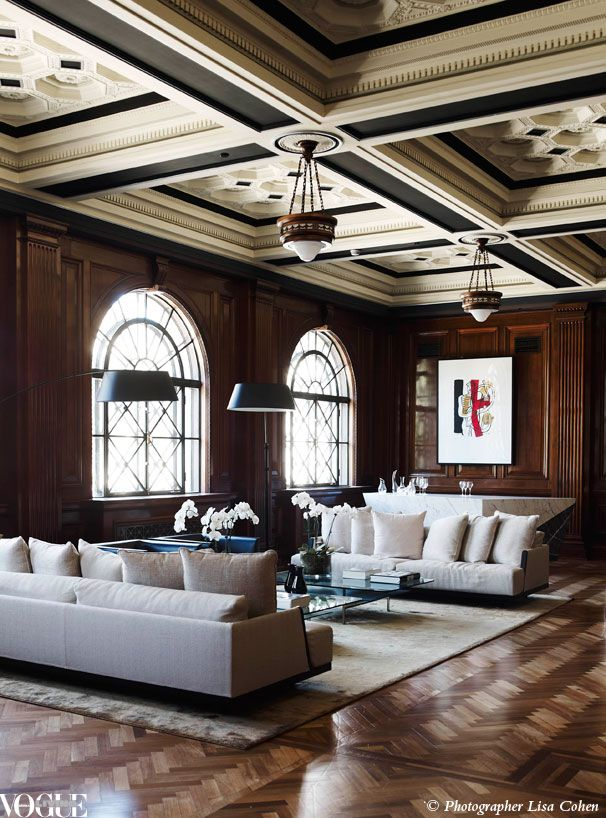 Once a boardroom in Melbourne's Port Authority building, pretty has no place in this living room. From 'An Officer & a Gentleman', a story on page 155 of Vogue Living Sept/Oct 2012 on newsstands and Zinio now. Photograph by Lisa Cohen.