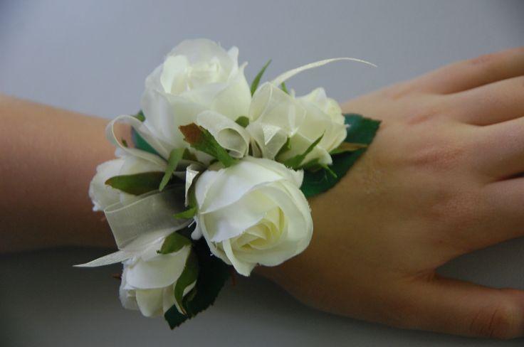 Cream roses wrist corsage