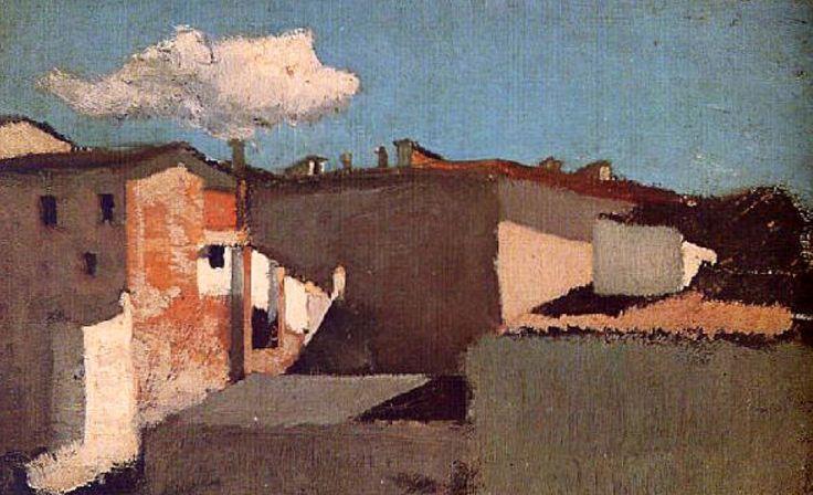 Raffaello Sernesi (Italian 1838 - 1866) Roofs in Sunlight