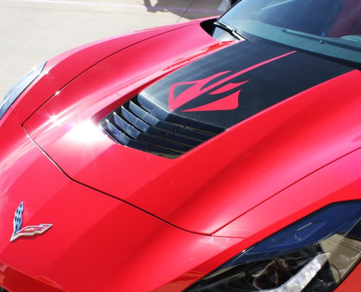 Red Corvette Stingray with custom Black Carbon Fiber Hood Wrap