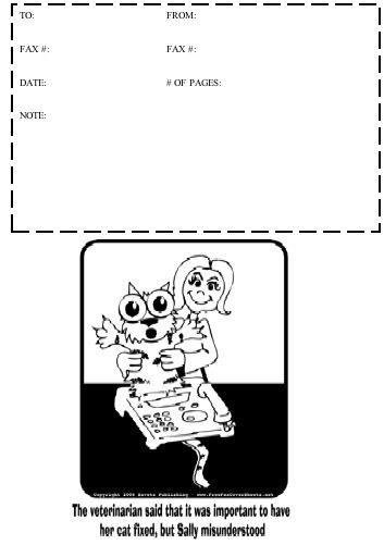 This printable fax cover sheet shows a cartoon in which someone has clearly misunderstood, and is trying to have her cat faxed rather than fixed. Free to download and print