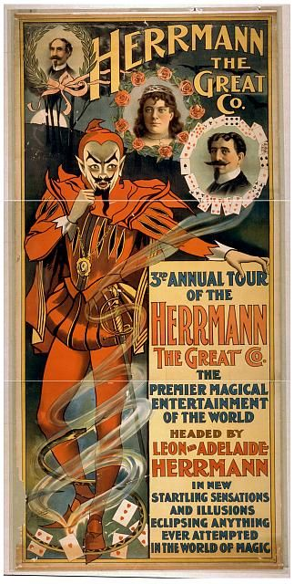 circus, classic posters, free download, graphic design, magic, movies, retro prints, theater, vintage, vintage posters, Herrmann the Great C...
