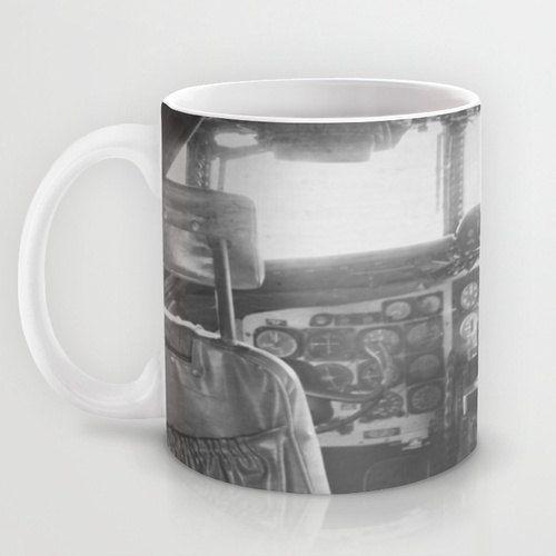 Tazza vintage pozzetto aeronautica caffè tazza aeroplano fotografia aereo nero bianco aviazione arte ceramica di Flyer pilota regalo Drinkware