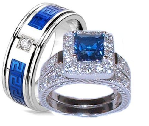 Edwin Earls His Her 3 Piece Shire Blue Clear Cz Wedding Ring Set Sterling Silver And Stainless Steel Womens 5 10 Mens 9