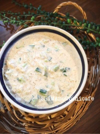 お家で簡単!インド料理!ヘルシーなインドのサラダスープ♪キュウリと玉ねぎの「ライタ」