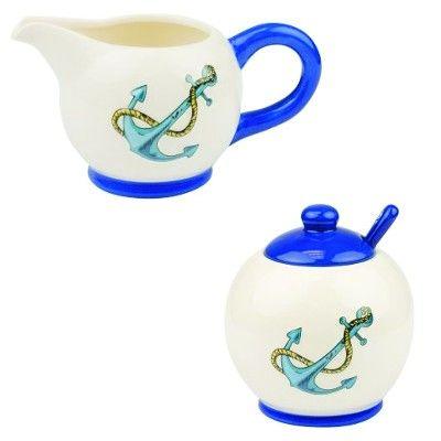 NA 52572 - Set Zuccheriere e Lattiera in ceramica con Soggetti marinari