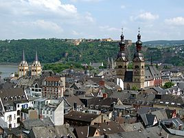 Koblenz in Germany, where Shonku and his pet Extraordinary Animal (EA) was invited to Schloss Eckhert (Ascharjontu)