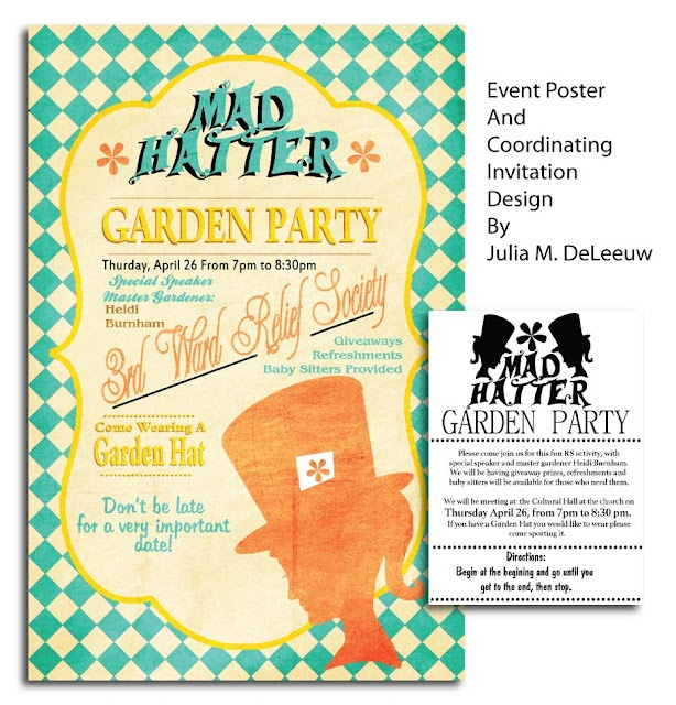 Fun Mad Hatter Garden Party event poster design and matching invitation