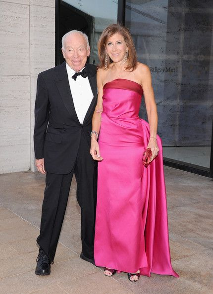 Linda Johnson Strapless Dress - Linda Johnson brought a heavy dose of color and glamour to the 'Eugene Onegin' opening with this lovely pink and red strapless gown.