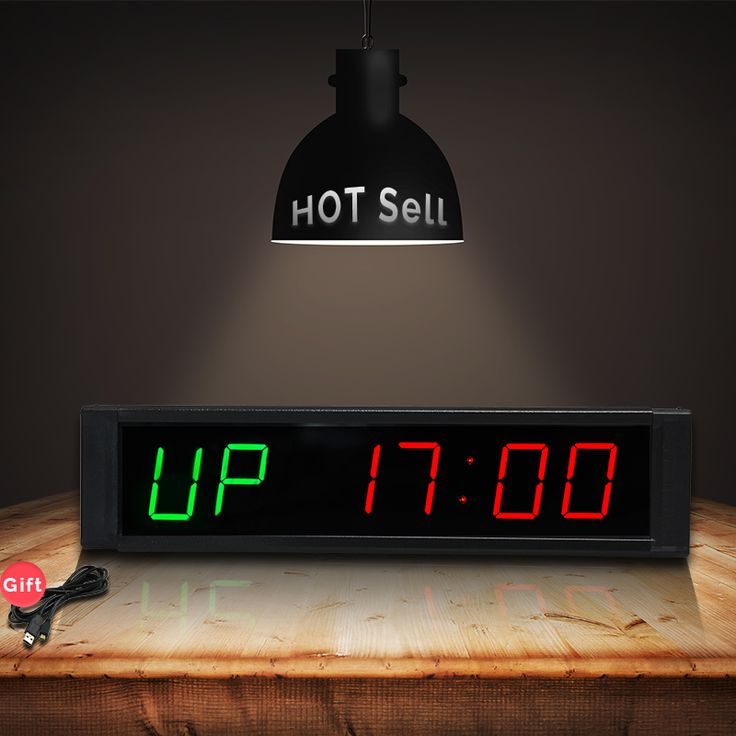 [GANXIN]Fitness Gym CrossFit WOD Interval Timer Countdown Stopwatch Alternate Timing for Training and Rest LED WALL CLOCK