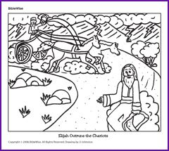 coloring elijah outruns the chariot kids korner biblewise - Elijah Bible Story Coloring Pages