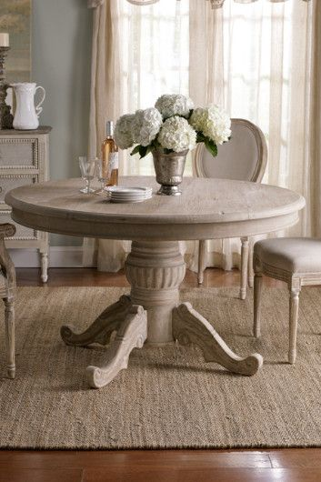 Valmont Dining Table - Rustic Dining Table, Distressed Dining Table, Round Top Wood Table | Soft Surroundings