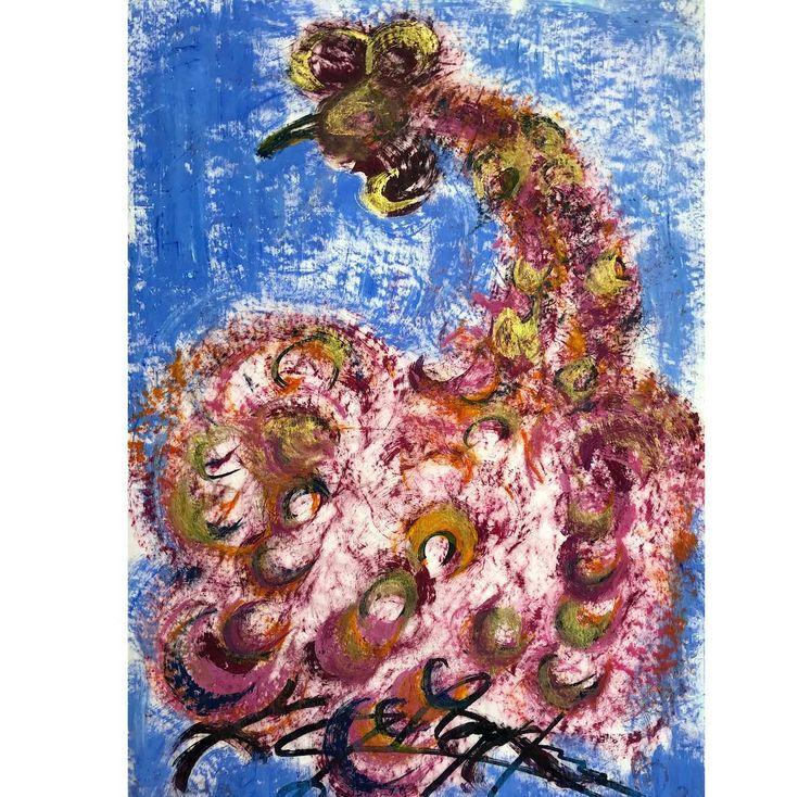 "Jesús Reyes Ferreira (Chucho Reyes) ""Gallo""  #chuchoreyes #peleadegallos #pink #octaviopaz #picasso #luisbarragan #juansoriano #artemoderno #modernart #jesusreyesferreira #usigli #gouache #crepepaper #expressionism #mathiasgoeritz #papelchina #pintura #modernismo #painting #modernart #modernism #goldleaf #cockfight #rooster #hojadeoro #gallo #rosa #tradicional #gouache"