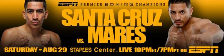 If you are in the L.A. area and need tickets to the Leo Santa Cruz vs. Abner Mares fight on August 29, check out Potshot Boxing's (PSB) ticket page and purchase tickets there. These tickets are provided by TicketLiquidator which is one of the best reseller merchants in the world. http://www.potshotboxing.com/?p=4039