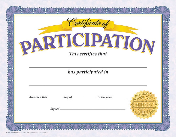 participation certificate english volunteering project