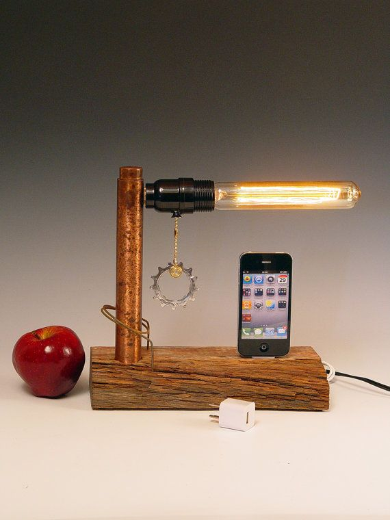 iphone ipod dock and table lamp iphone 3 4 5 recycled wood copper steam punk industrial. Black Bedroom Furniture Sets. Home Design Ideas