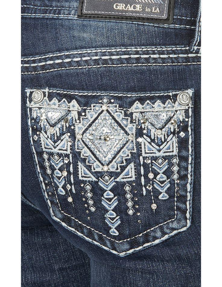 Grace in LA Women's Dark Wash with Silver Aztec Embroidery Open Pocket Boot Cut Jeans | Cavender's