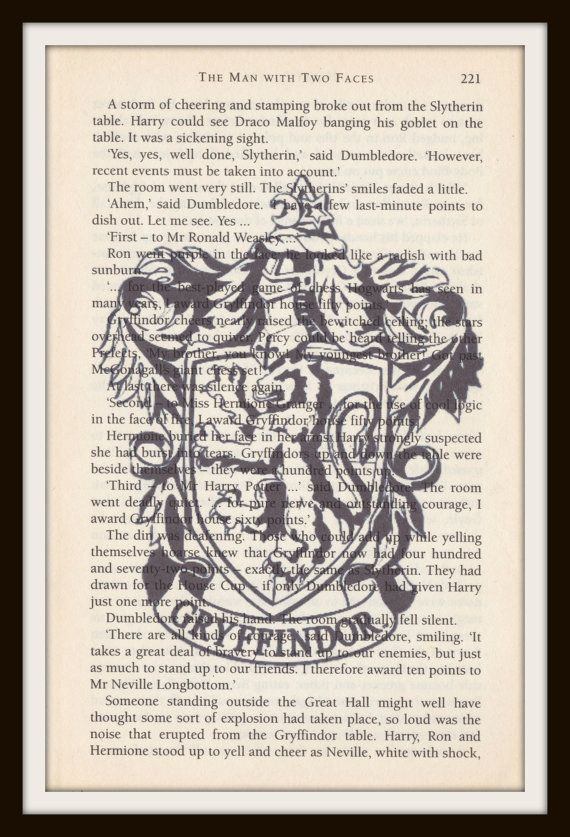 Hogwarts House Gryffindor Crest book page black and white prints on ...