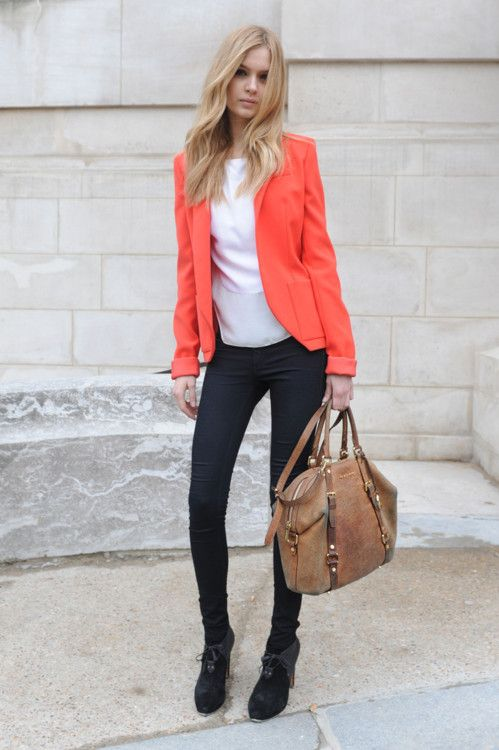 ...: Light Pink Blazers, Coral Blazers, Fashion Style, Street Style, Outfit, Colors Blazers, Coral Jackets, Orange Blazers, Bags