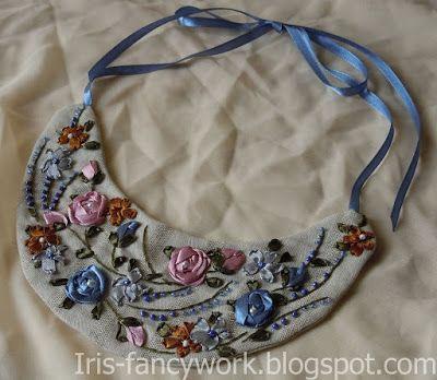 """My Fancywork Blog: Текстильное колье-гривна из льна """"Розы и примулы"""" ..."""