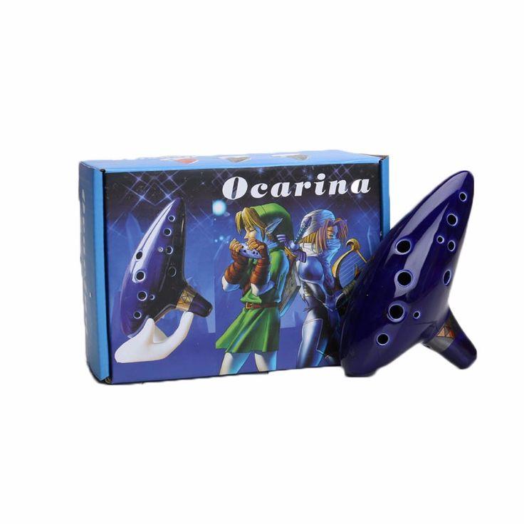 Blue 12 Holes Ocarina Kiln-fired Ceramic Alto C Legend of Zelda Flute Ocarina of Time Woodwind Instruments figure toys. Click visit to buy