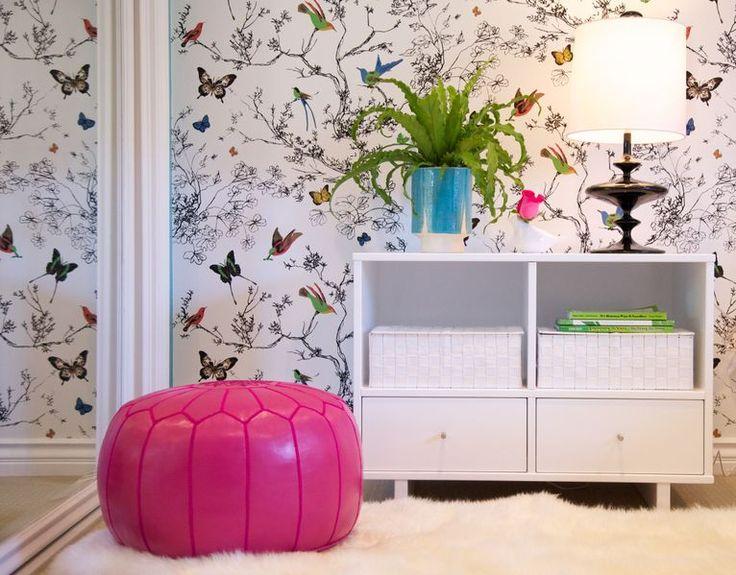 Teen Girls Bedroom Shabbychic moroccan pouf, Room and Board Moda Cubby nightstand, Jonathan Adler Whittier Lamp, Schumacher Birds and Butterflies wallpaper- love this wallpaper