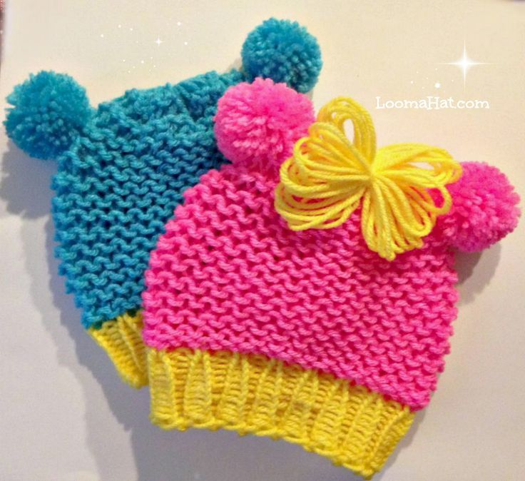 Loom knit baby hat with pom-pom animal ears . Quicker - easier - very cute. FREE Hat Pattern.: