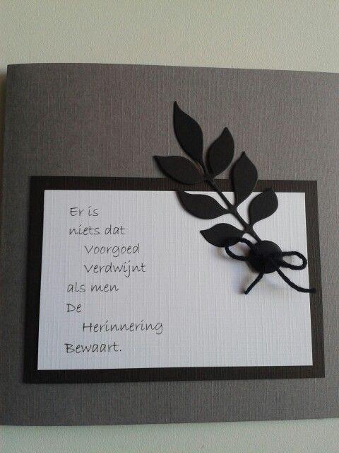Condoleance kaart met tekst en zwart takje...