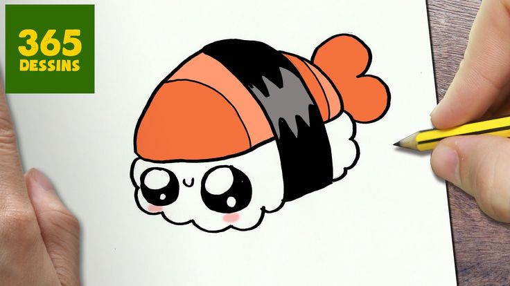 COMMENT DESSINER SUSHI KAWAII ÉTAPE PAR ÉTAPE – Dessins kawaii ...