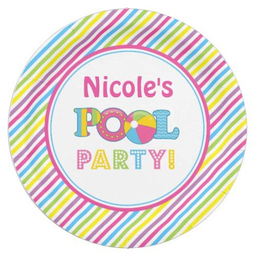 Pool Party Paper Plates, Girl Pool Party Decor Paper Plate