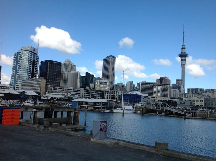 Auckland bay and sky tower with a revolving restaurant