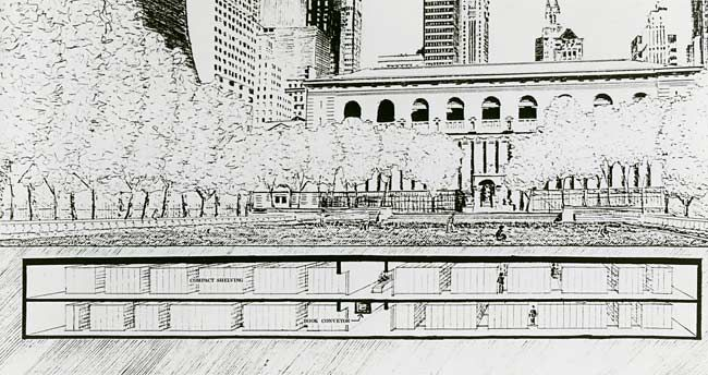 Sketch of the stacks of books under Bryant Park (Photo: BryantPark.org)
